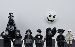 LEGO Gothic characters (Alex THELEGOFAN) Tags: lego legography minifigures minifigure minifig minifigs minifigurine minifigurines gothic black white world skeleton suit style bird owl chain spooky boy girl series collectible 12 15 spike