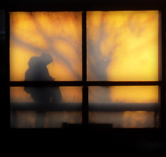 A silhouette in the bus shelter (Trudie S) Tags: silhouette bus shelter early morning