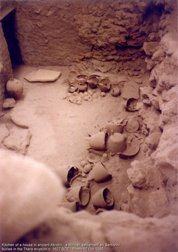 Kitchen of a house in ancient Akrotiri.  1627 BCE.