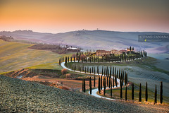 Tuscany (Stefano Caporali) Tags: tuscany countryside cypress winding road farmhouse crete senesi sunset fields hills rolling