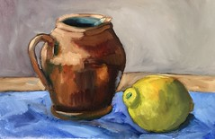 Citrus and Pottery (Handwork Naturals) Tags: fruit pitcher oilpainting dailypainting stilllife painting pottery lemon citrus edenscovillehart