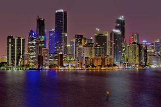 View of downtown Miami, Florida, USA from across Biscayne Bay
