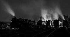 Br shed recreation (Nigel Valentine) Tags: east lancashire railway steam locomotives shed black white