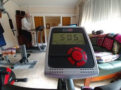 Back on the bike but slowly at lowest resistance to make sure it's not going to be a problem with the hips and healing tendons. Rod's on the treadmill. #homegymlife #gym #recumbentbike #treadmill