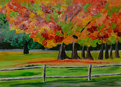 Kim's Fall Trees (BKHagar *Kim*) Tags: bkhagar paint painting art artwork acrylic fall trees fence bright family project