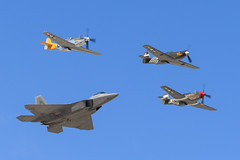 """Heritage Flight: P-51A """"Mrs. Virginia"""", P-51C """"Boise Bee"""", P-51D """"Spam Can"""", F-22 Raptor (Norman Graf) Tags: california plane airplane virginia airport fighter spam aircraft wwii can bee boise airshow raptor stealth f22 mustang dolly mrs usaf ot warbird usairforce chino cno p51 p51d northamerican p51a heritageflight 5thgeneration p51c f22a kcno calaerofield fifthgeneration lockheedmartinboeing n4651c 044068 436251 n4235y 472861 4325057 4472861 nl544iv 2015planesoffameairshow"""