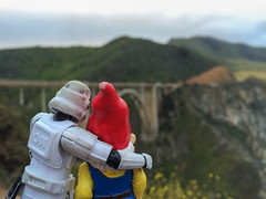Kevin and McTart at Bixby Canyon Bridge (raelala) Tags: california travel bridge toys actionfigure starwars bigsur roadtrip pch highway1 stormtrooper westcoast route1 bixbybridge iphone pacificcoasthighway bixbycreekbridge 2015 travelinggnome californiaroute1 cedricthegnomemctart iphonephotos rachelgreene bixbycanyonbridge kevintheretiredstormtrooper thatlalagirlcom thatlalagirl iphone5s thatlalagirlphotography