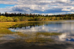 Fish Lake (Cariboo Finn) Tags: blue sky nature water yellow clouds reflections reeds landscape hdr chilcotin fishlake