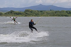 Cable Wake Park Str pod Ralskem, Czech Republic (beyondhue) Tags: park people lake man mountains sport train pond wake republic czech action cable wakeboard wakeboarding wetsuit jested str beyondhue