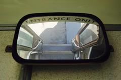 Entrance Only (Blue Rave) Tags: door reflection bus sign vintage mirror coach angle metro framed transport steps angles transportation transit frame publictransport motorcoach flxible framedportraits oldmodelbus