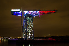 French Flag Titan (markyharky) Tags: paris france french respect crane rip illuminated tribute titan clydebank frenchflag titancrane clydebanktitancrane