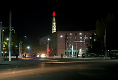 Night in Pyongyang (Frhtau) Tags: light people moon tower by night square asian soldier mond licht asia leute crossing shine traffic nacht platz capital north central culture illumination korea eat korean turm zentrum verkehr noce ideology pyongyang dprk juche passers nordkorea idiologie