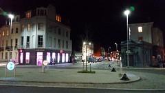 Seven Dials, Brighton, Sussex, at Night. (ManOfYorkshire) Tags: city signs sign night brighton roundabout junction illuminated seven paving improved enlarged dials loading raised bollards sevendials 7dials