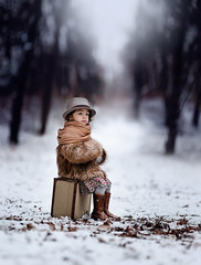 Linger... (liliaalvarado) Tags: travel trees winter snow cold hat leaves lines scarf canon fur outside cool waiting boots outdoor coat thoughtful suitcase tones 135mm