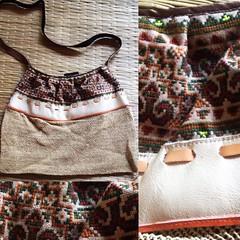 กระเป๋าหนังผสมผสานกับงานถักใยกันชง hand made by puicraft.tumblr.com