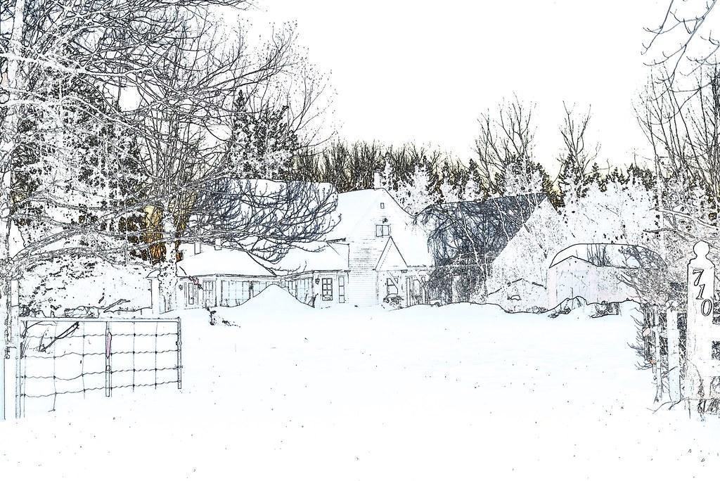 Old Farmhouse Coleenr2005 Tags Sketch Snow Winter Canadian Iamcanadian Cffaa