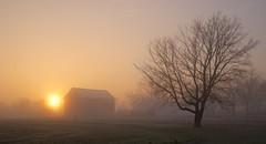 """Sunrise On Clow Road"" (J Henry G) Tags: farms sunrise wisconsin fog frost barn johnhenrygremmer landscape october"