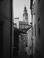 Steep Walk- BW (Firery Broome) Tags: landscape cityscape city českýkrumlov southbohemian czechrepublic castle narrowlane tower hilly alleyway buildings widows historic historicplaces historicicons history unescoworldheritage unesco travel worldtravel europe europe2014 olympus olympusem10 ipad ipaddarkroom apps snapseed photoshop alienskin exposurex blackandwhite blackwhite bw blackandwhitelandscape monochrome architecture blackandwhitearchitecture 365