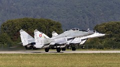 Slovak MiG-29AS and MiG-29UB taking off in Sliac (LZSL) (stecker.rene) Tags: slovakairforce slovak slovakia afb airbase formation takeoff to departure runway sliac lzsl forest aerialdisplay flyingdisplay airshow siaf siaf2015 siaf15 nato aircraft military fighterjet interceptor trainer canon eos7d tamron 150600mm 6728
