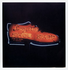 Logan's Shoe Shop Neon (tobysx70) Tags: the impossible project tip polaroid slr680 frankenroid sx70 door rollers color film for 600 type cameras impossaroid logans shoe shop west hickory street denton texas tx neon sign lit illuminated night nocturnal over50yearsofservice polacon2016 polaconone 100116 toby hancock photography
