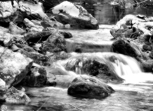 river place waterfall b&w