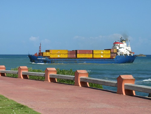 Cargo ship sailing into Puerto Plata