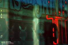 Ink Shop Abastract (Hi-Fi Fotos) Tags: abstract window glass tattoo shop neon lettering ink moody xpro storefront business nikkor 105mm micro nikon d5000 hififotos hallewell pittsburgh sinnersandsaints