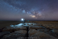 Barnegat Light (Mike Ver Sprill - Milky Way Mike) Tags: barnegat light midnight explorer mike ver sprill michael versprill night sky new jersey pollution long exposure stacked stacking starry landscape stacker starrylandscapestacker rocks jetty shore nj winter milky way galaxy universe stars stargazing star gazer sphere gary fong beautiful beach
