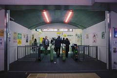 Gates (OzGFK) Tags: asia japan tokyo yurakucho film analog 35mm nikon nikkor urban streetphotography jr japanrail trainstation eki night winter cold cinestill cinestill800t cinestillfilm people city transport traingates