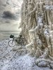 Bike Baroque, Extreme Edition (Philocycler) Tags: chicago illinois unitedstates us ice icetree lakemichigan storm bike wintercycling icicle bikebaroque hydepark promontorypoint