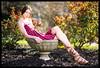 Leslie - Sunflower (jfinite) Tags: model beauty fashion environmentalportraiture spring dress sandals flowerpot