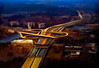 Intersection (Terry Pellmar) Tags: texture digitalart digitalpainting washingtondc aerialview road night rushhour traffic