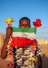 Portrait of a teenage boy with a national flag, Togdheer region, Burao, Somaliland (Eric Lafforgue) Tags: africa african africanethnicity blackethnicity burao copyspace developingcountry eastafrica flag flowers hornofafrica islam lookingatcamera man men muslim oneadultonly onemanonly oneperson soma4665 somali somalia somaliland teenageboy togdheer vertical waistup togdheerregion