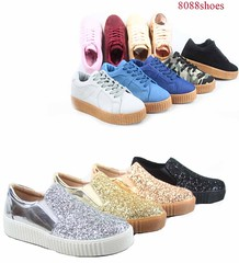 Women's Fashion Stylish Glitter Lace Up Platform Sneakers Shoes Size 5 - 10 NEW (laplace777) Tags: fashion glitter platform shoes sneakers stylish women