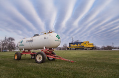 Strange Clouds Over Farm Country (WillJordanPhoto) Tags: trains travel indiana malden grain elevator switcher atsf santafe