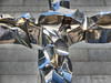 cross (albyn.davis) Tags: sculpture metal reflections shiny nyc newyorkcity wtc color blue art religious hdr