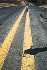 Tarred cracks or is that a truck coming up behind me (citrusjig) Tags: fuji sigmasuperwideii24mmf28 countyroadc tar cracks median horizonless ground dailyinmarch2018 pentaxforums