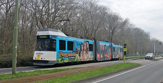 Belgian Coastal Tramway 6013 on the 1997 southern extension, 11th. April 2018.