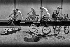 BMX (heinzkren) Tags: sport ricoh mehrfachbelichtung fahrrad schwarzweis blackandwhite monochrome sw bw composing wien vienna bikefestival bike bmx street streetphotography shadow bicycle fantasy airking rathausplatz people