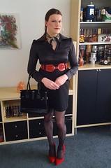 Black and red (Rikky_Satin) Tags: silk satin blouse black red highheels pumps belt crossdressing crossdresser transformation m2f mtf transgender tgirl tgurl gurl sissy secretary office fashion