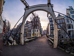 A0082067 (rpajrpaj) Tags: amsterdam city cityscape bluehour sunrise canal staalmeestersbrug bridge samyang fisheye 75mm groenburgwal samyangcsc75mmf35umcfisheyemft