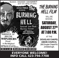 """The Burning Hell"" Movie Advert (1972) (Brett Streutker) Tags: lutheran methodist episcopal assemblies apostolic fundamentalist nostalgia antique school religion time old israeli israel palastine joseph mary diciples apostles samaria jerusalem bethlehem brirth passover christmas herod thus version international standard american new james king moody seminary conference epistles gospels john enemy devil satan antichrist son tribulation revelation study verse psalm tent meeting gospel evangelical saved again born jehovah yahweh god rapture scriptures bible he made creationism creation science jesus creator christ easter 2017 stars"