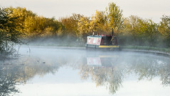 Morning mist (chaotic river) Tags: barge boat canal early lancaster mist morning narrow reflection sunrise water
