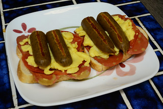 Open-Faced Sandwiches with Soy Bacon, Tomatoes, VeganEgg and Kielbasa (Vegan)
