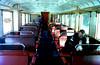 DE-94244 Gumpenried-Asbach Bahnhof Regentalbahn Triebwagen VT13 Innenansicht  im Januar 1979 (Joerg Seidel) Tags: gumpenried bayerischerwald germany bayern schienenbus regentalbahn dieseltriebwagen schaffner inneneinrichtung personen