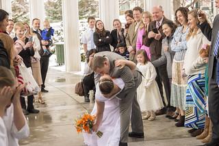 Wedding Swoop and Kiss