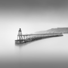 Long Exposure study 3 (Paul Evans.) Tags: sea water cliffe england whitby north yorkshire long slow exposure pier calm blan white mono black fine art nd neutral density filter paul evans