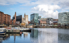 83/365: The Albert Dock (judi may) Tags: 365the2018edition 3652018 day83365 24mar18 liverpool thealbertdock water river reflections architecture buildings boats clouds cloudysky canon7d landscape cityscape city merseyside