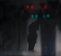 (cara zimmerman) Tags: reflection self selfie dark rain puddle mood sad