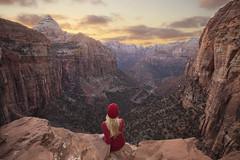 Zion Overlook (ks_pics) Tags: landscapephotography utah zion national park selfportrait sunset kspics nature travelphotography me hiking clouds light rocks cliffs blonde
